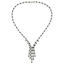 Buy Susan Caplan Vintage 1980s Silver Plated Swarovski Crystal Drop Necklace, Clear/Sapphire Online at johnlewis.com