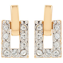 Buy Susan Caplan Vintage 1980s 22ct Gold Plated Swarovski Crystal Rectangular Clip-On Drop Earrings, Gold/Clear Online at johnlewis.com
