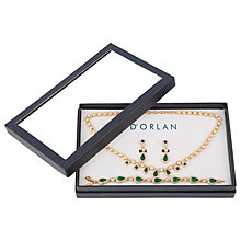 Buy Susan Caplan Vintage 1980s D'Orlan 22ct Gold Plated Swarovski Crystal Necklace, Bracelet and Drop Earrings Jewellery Gift Set, Gold/Green Online at johnlewis.com