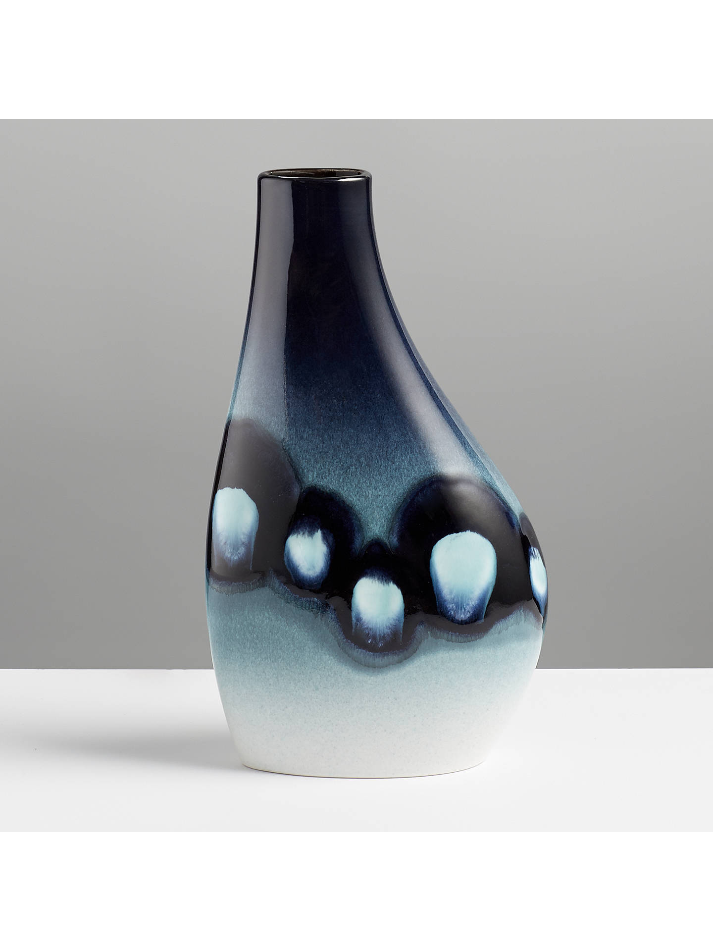 BuyPoole Pottery Blue Orchid Asymmetrical Flask Vase Online at johnlewis.com