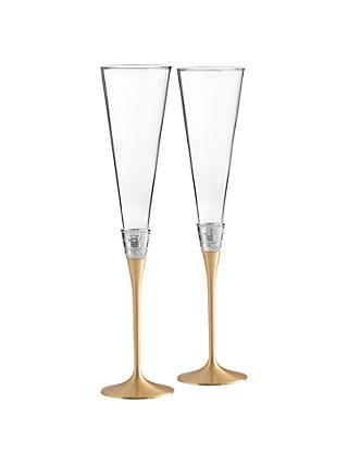 Vera Wang for Wedgwood With Love Gold Flutes, Set of 2, Clear/Gold
