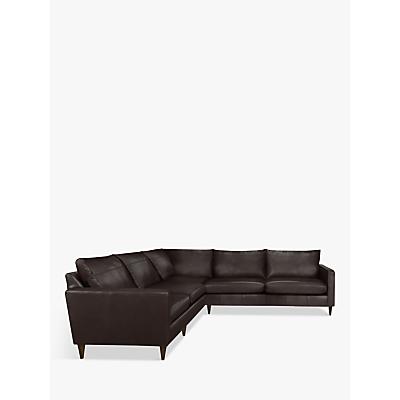 John Lewis & Partners Bailey Leather Corner Sofa, Dark Leg