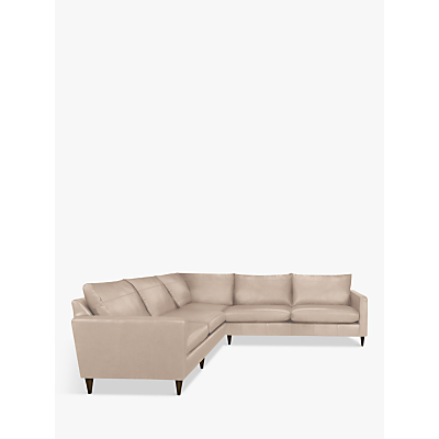John Lewis Bailey Leather Corner Sofa, Dark Leg