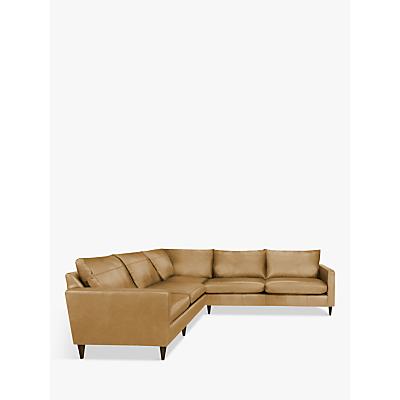 John Lewis Bailey Leather Corner Sofa, Dark Leg