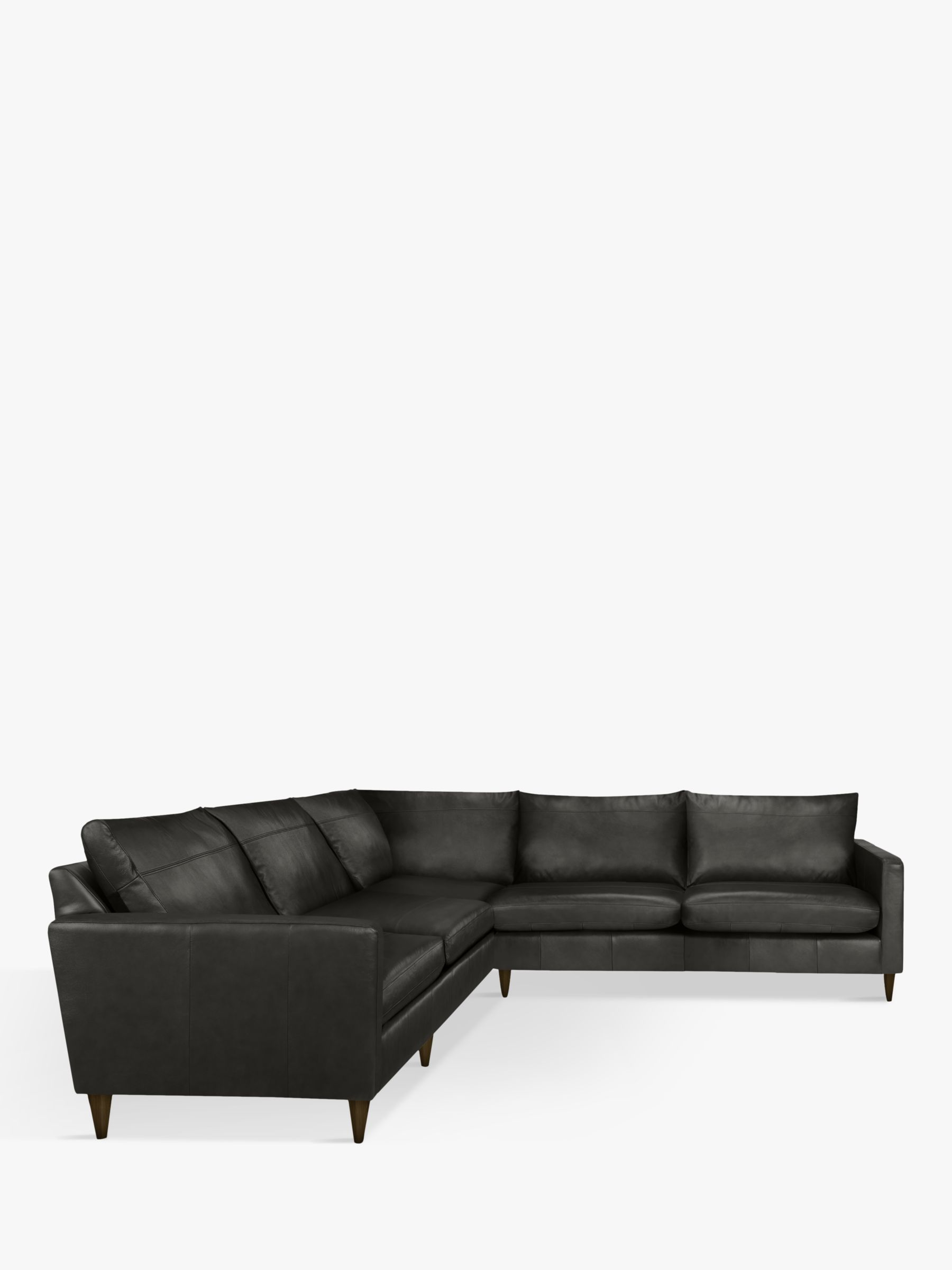 John Lewis & Partners Bailey Leather Corner Sofa, Dark Leg, Winchester Anthracite