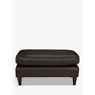 John Lewis Bailey Leather Footstool, Dark Leg