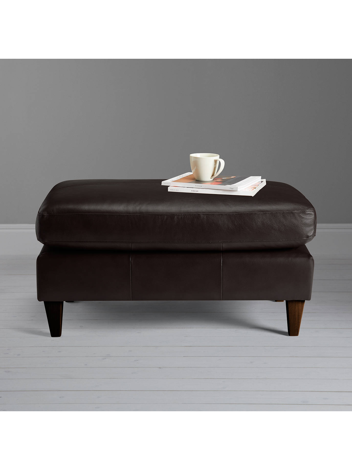 Buy John Lewis & Partners Bailey Leather Footstool, Dark Leg, Demetra Charcoal Online at johnlewis.com
