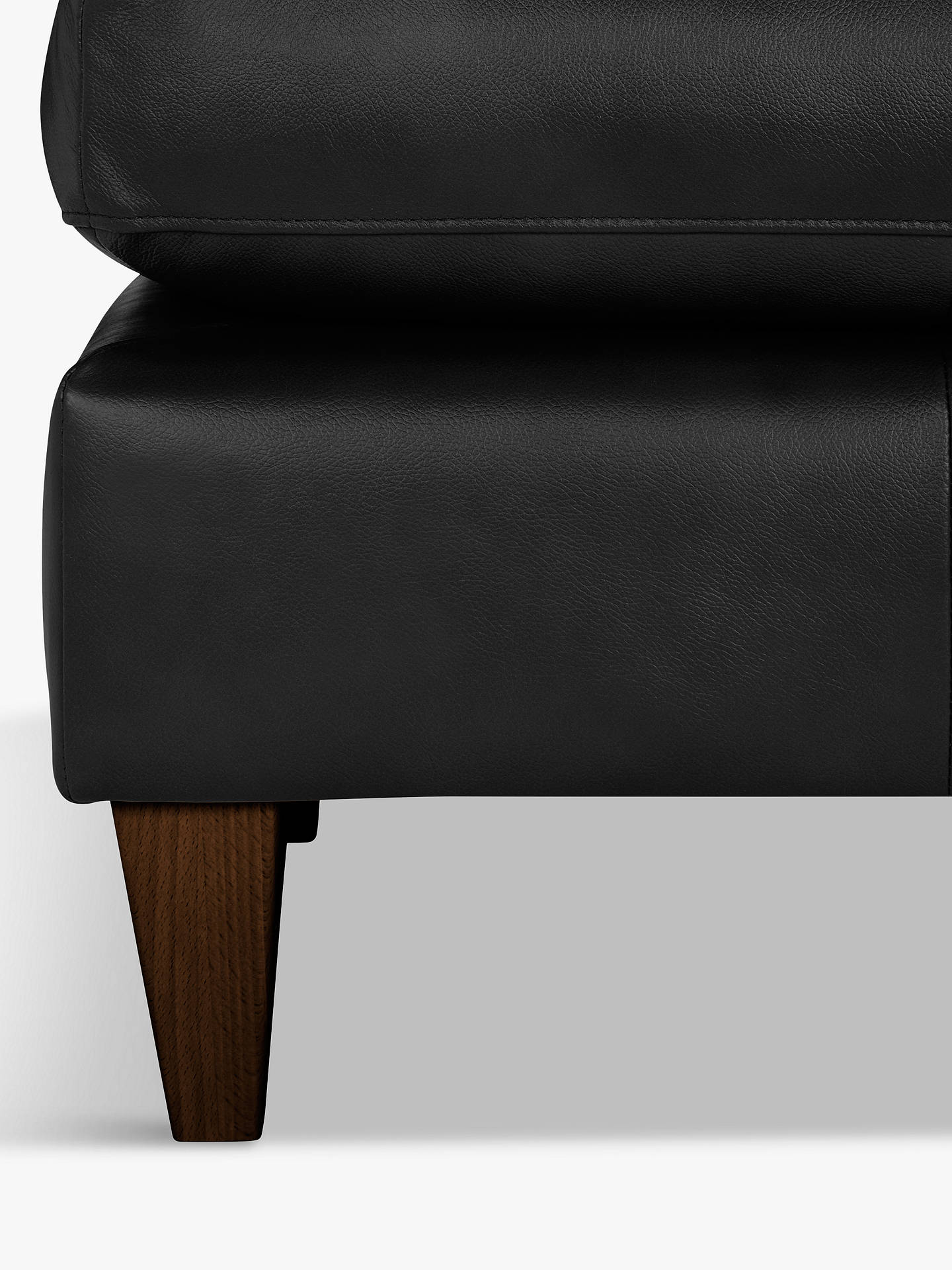 BuyJohn Lewis & Partners Bailey Leather Footstool, Dark Leg, Nature Black Online at johnlewis.com