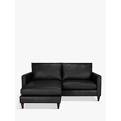 John Lewis Bailey Leather LHF Chaise End Sofa, Dark Leg