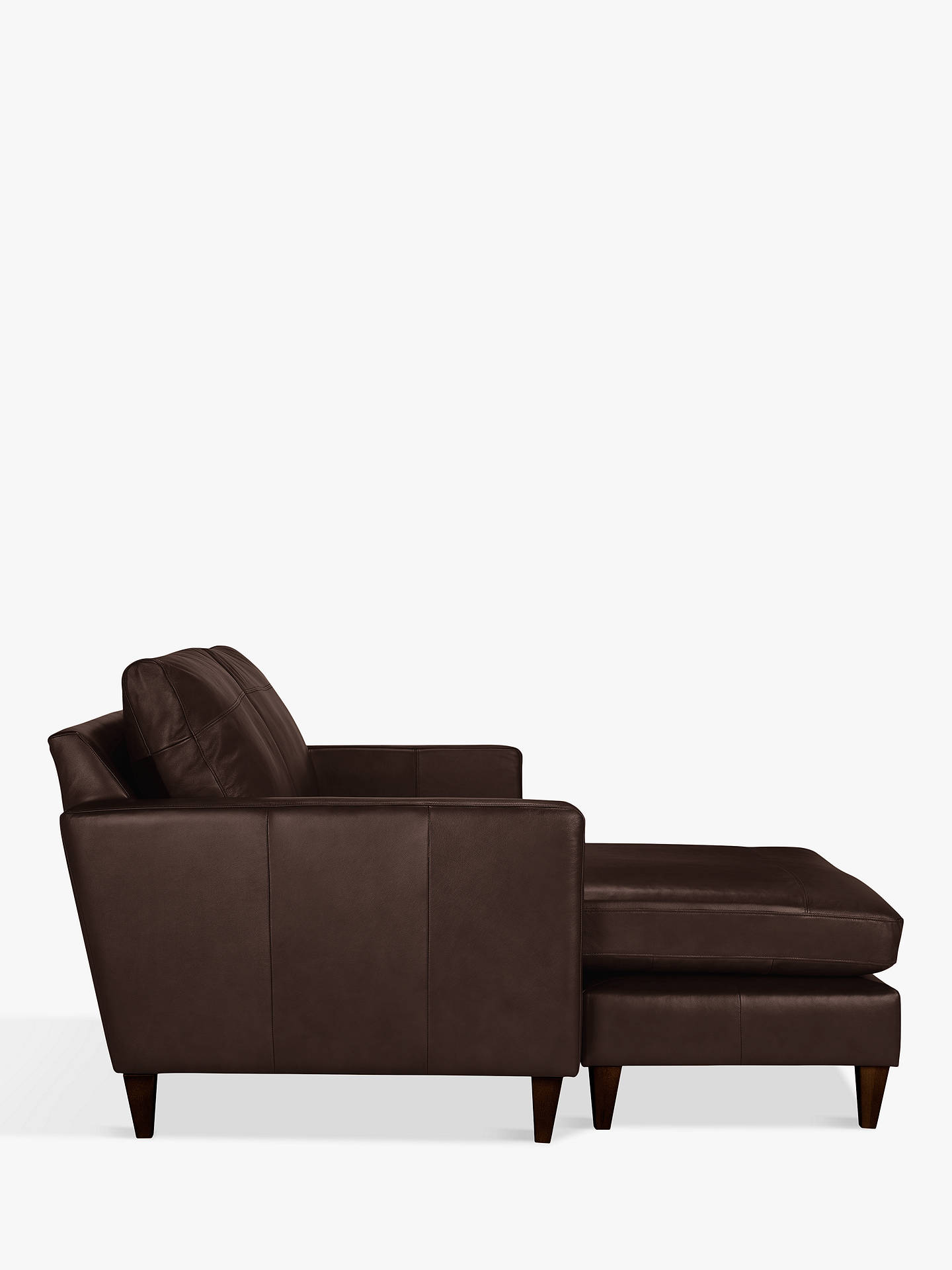 BuyJohn Lewis & Partners Bailey Leather LHF Chaise End Sofa, Dark Leg, Nature Brown Online at johnlewis.com