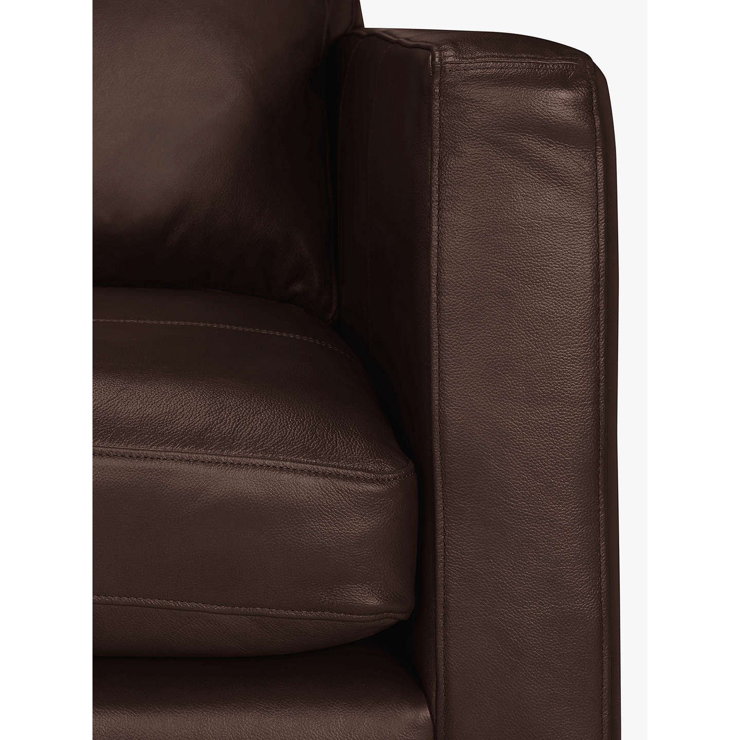 BuyJohn Lewis Bailey Leather LHF Chaise End Sofa, Dark Leg, Nature Brown Online at johnlewis.com