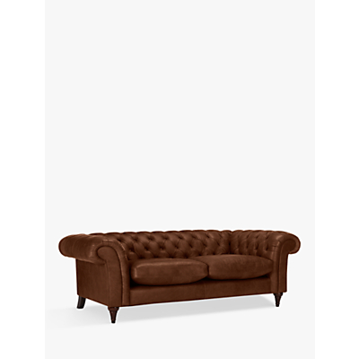 John Lewis Cromwell Chesterfield Leather Grand 4 Seater Sofa, Dark Leg