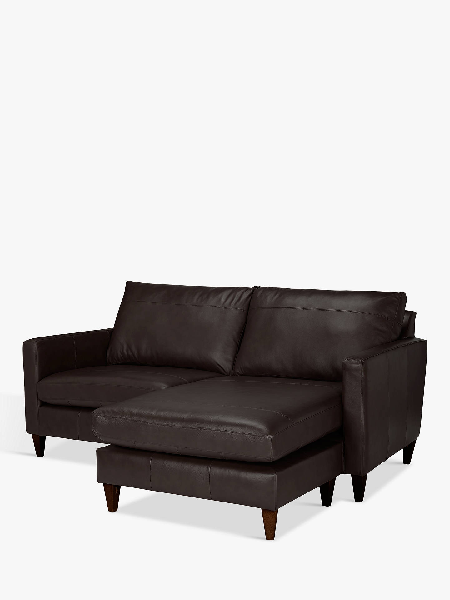 BuyJohn Lewis & Partners Bailey Leather RHF Chaise End Sofa, Dark Leg, Demetra Charcoal Online at johnlewis.com