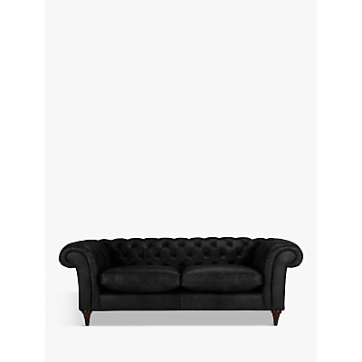 John Lewis & Partners Cromwell Chesterfield Leather Grand 4 Seater Sofa, Dark Leg