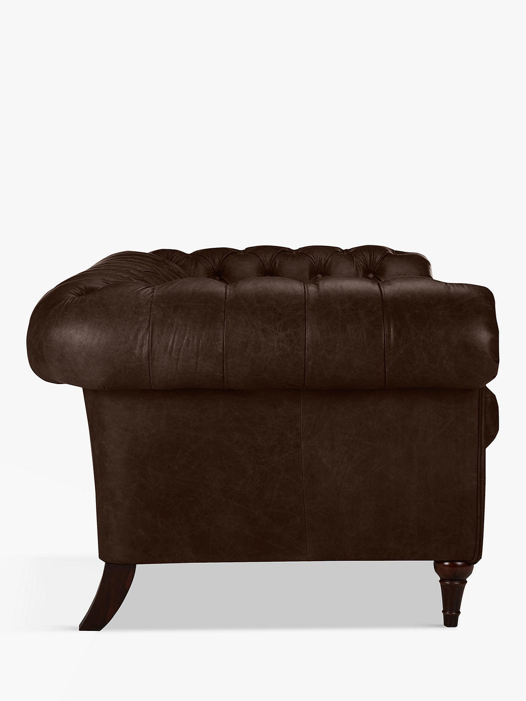 Buy John Lewis & Partners Cromwell Chesterfield Grand 4 Seater Leather Sofa, Dark Leg, Nature Brown Online at johnlewis.com
