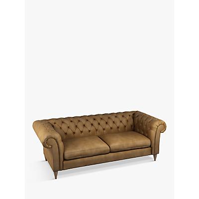 John Lewis & Partners Cromwell Chesterfield Leather Grand 4 Seater Sofa, Dark Leg