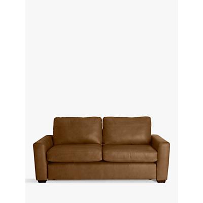 John Lewis Oliver Leather Large 3 Seater Sofa, Dark Leg