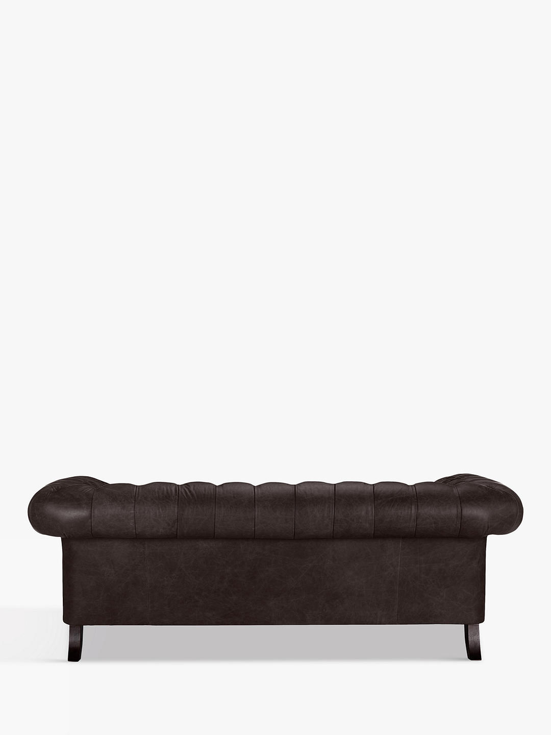 John Lewis & Partners Cromwell Chesterfield Grand 4 Seater Leather Sofa, Dark Leg, Demetra Charcoal