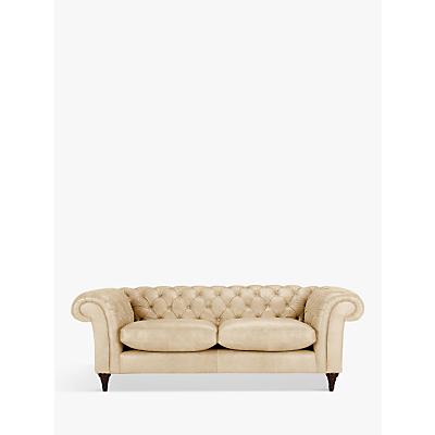 John Lewis Cromwell Chesterfield Leather Grand 4 Seater Sofa, Dark Leg
