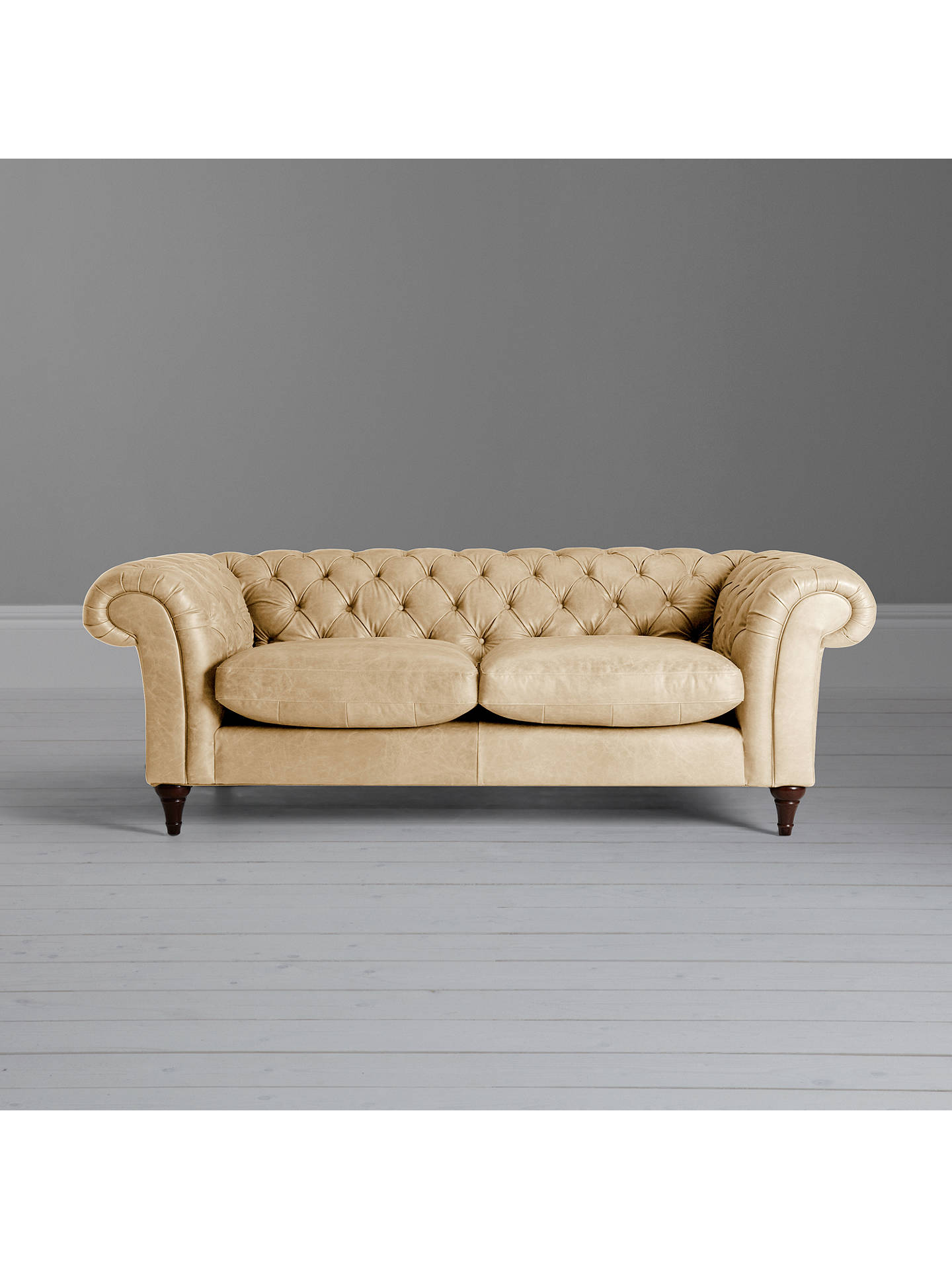 John Lewis & Partners Cromwell Chesterfield Leather Grand 4 Seater Sofa,  Dark Leg, Contempo Ivory