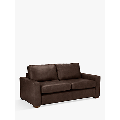John Lewis Oliver Leather Large 3 Seater Sofa, Dark Leg