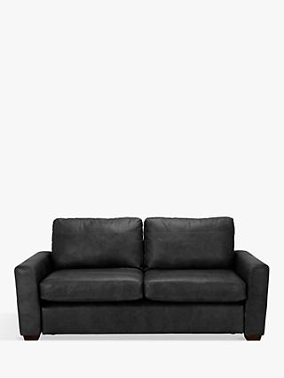 House by John Lewis Oliver Leather Large 3 Seater Sofa, Dark Leg