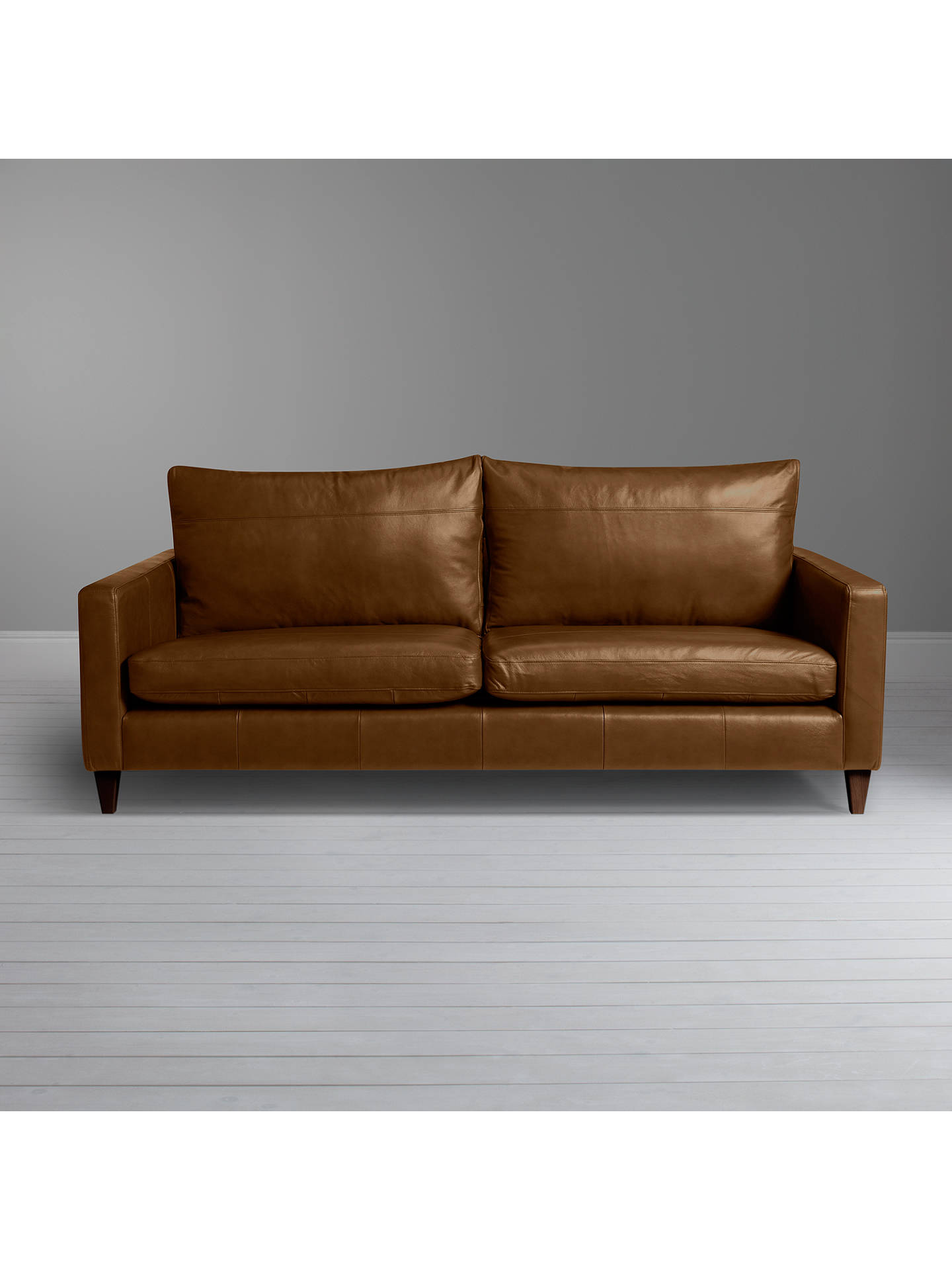 Buy John Lewis & Partners Bailey Grand 4 Seater Leather Sofa, Dark Leg, Demetra Light Tan Online at johnlewis.com