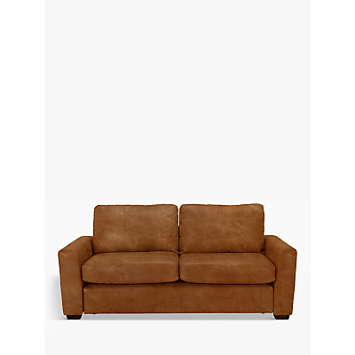 John Lewis & Partners Oliver Leather Large 3 Seater Sofa, Dark Leg