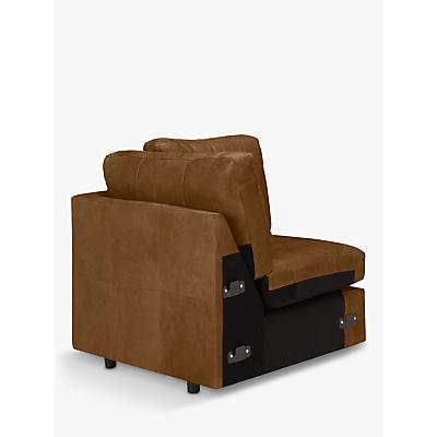 John Lewis & Partners Oliver Leather Armless Corner Unit, Dark Leg