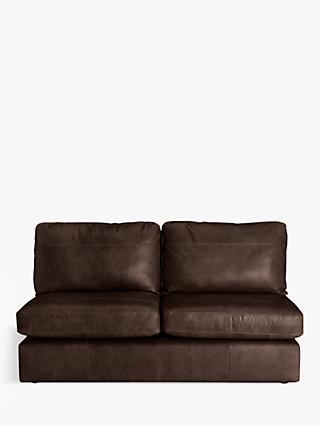 House by John Lewis Oliver Armless Leather Large 3 Seater Unit, Dark Leg