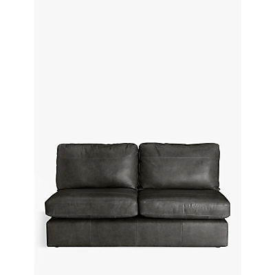 John Lewis & Partners Oliver Armless Leather Large 3 Seater Unit, Dark Leg