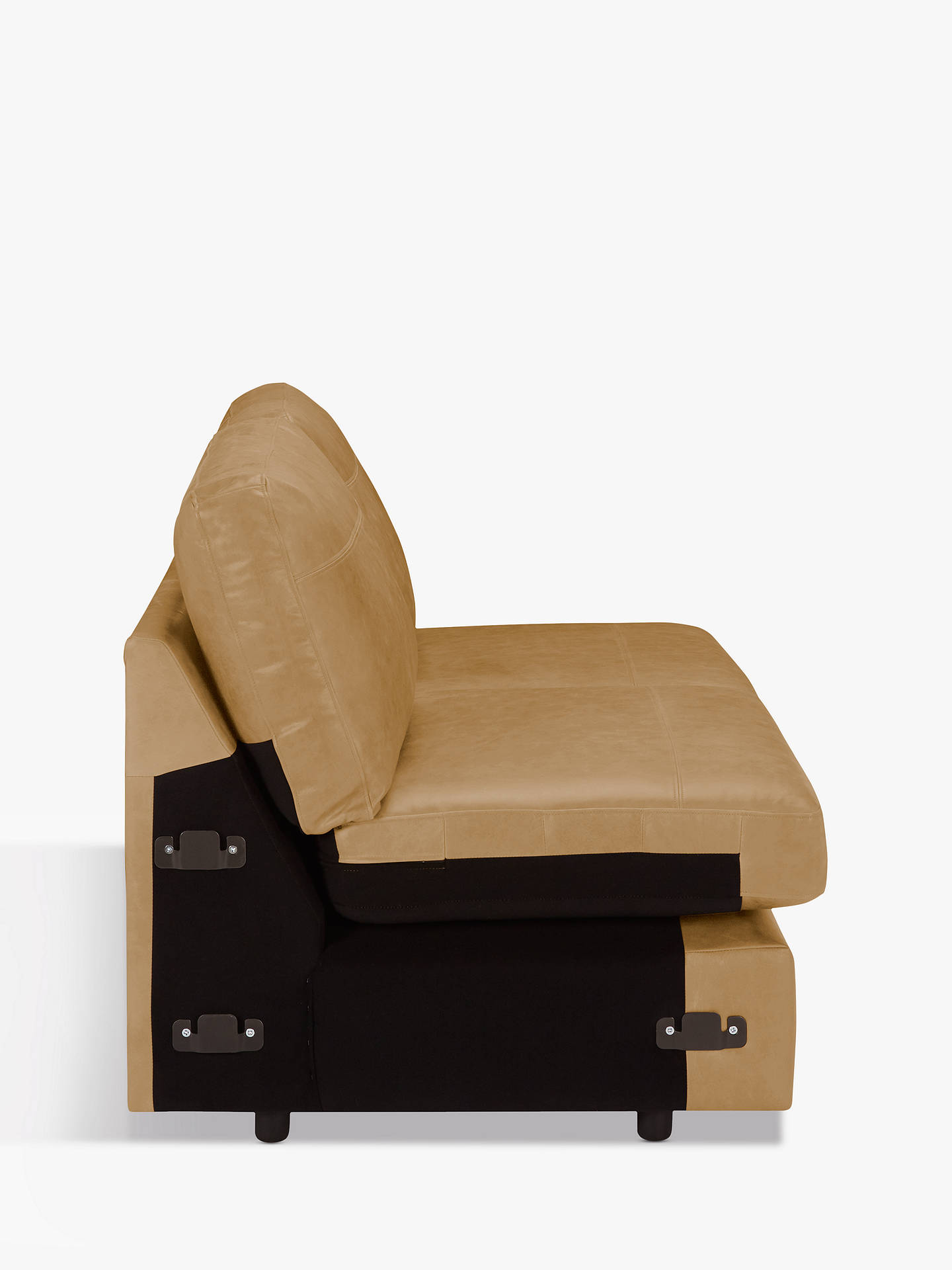 Buy House by John Lewis Oliver Armless Leather Large 3 Seater Unit, Dark Leg, Sellvagio Parchment Online at johnlewis.com
