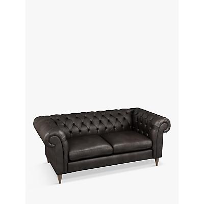 John Lewis Cromwell Chesterfield Leather Large 3 Seater Sofa, Dark Leg