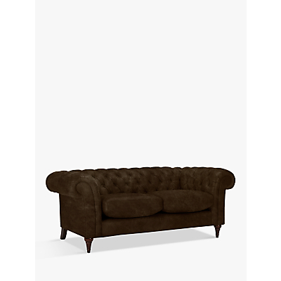 John Lewis & Partners Cromwell Chesterfield Leather Large 3 Seater Sofa, Dark Leg