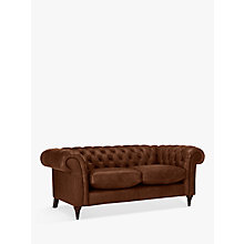 Buy John Lewis Cromwell Chesterfield Leather Large 3 Seater Sofa, Dark Leg Online at johnlewis.com