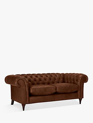John Lewis & Partners Cromwell Chesterfield Leather Large 3 Seater Sofa, Dark Leg