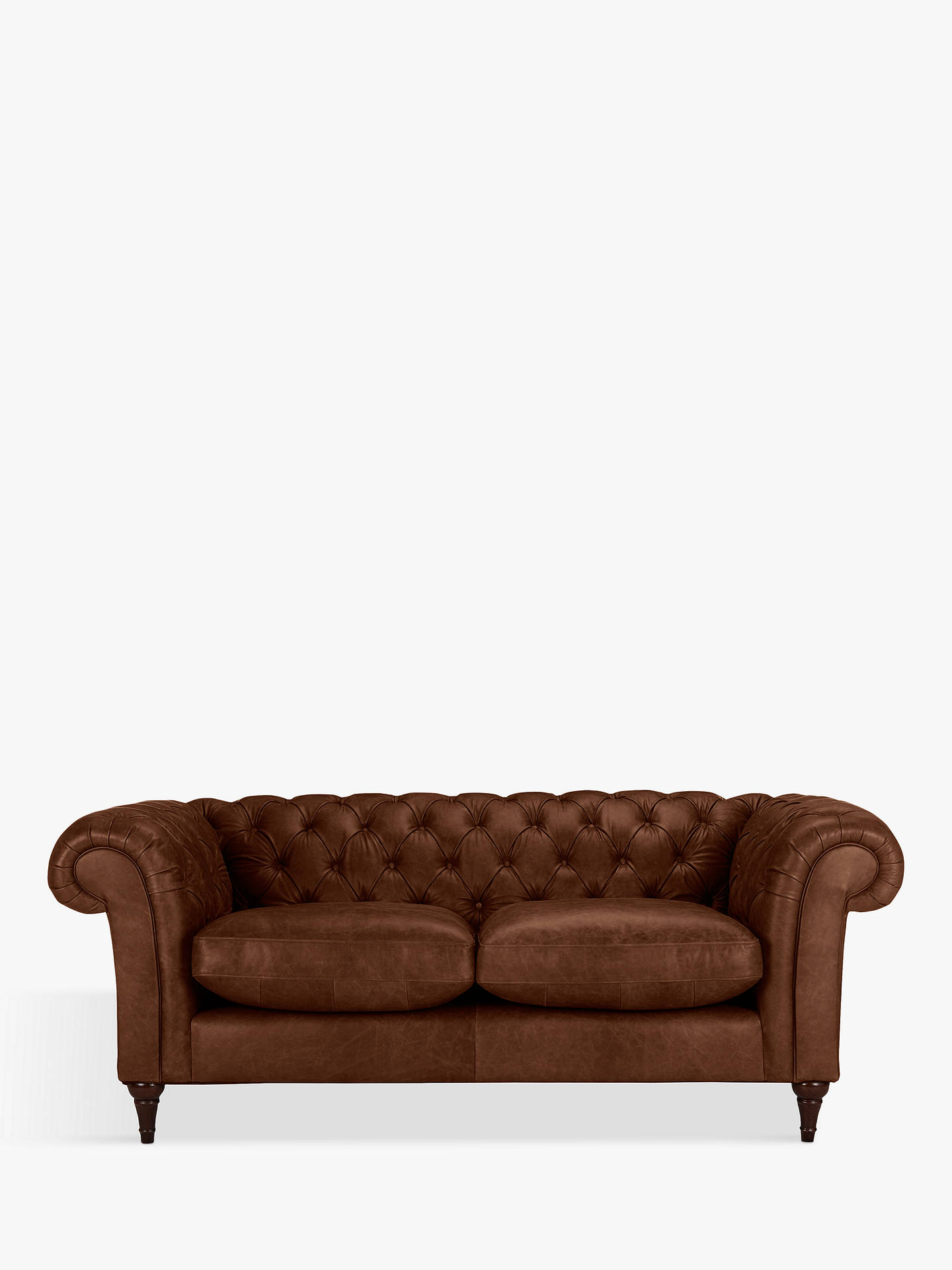 Buy John Lewis & Partners Cromwell Chesterfield Leather Large 3 Seater Sofa, Dark Leg, Contempo Castanga Online at johnlewis.com