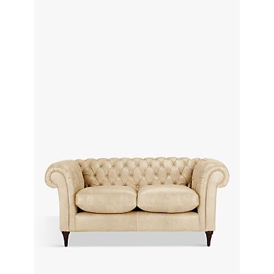 John Lewis Cromwell Chesterfield Leather Small 2 Seater Sofa, Dark Leg