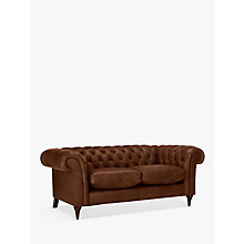 Buy John Lewis Cromwell Chesterfield Leather Small 2 Seater Sofa, Dark Leg Online at johnlewis.com