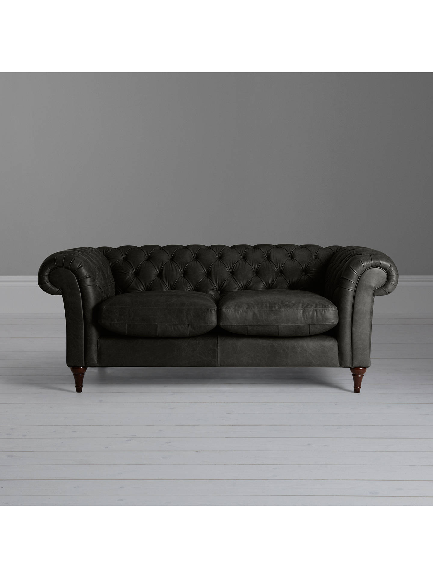 Buy John Lewis & Partners Cromwell Chesterfield Leather Large 3 Seater Sofa, Dark Leg, Winchester Anthracite Online at johnlewis.com