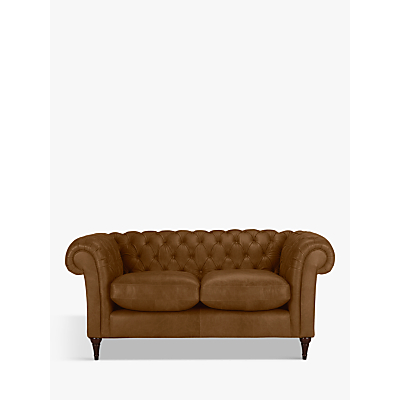 John Lewis Cromwell Chesterfield Leather Small 2 Seater Sofa, Dark Leg