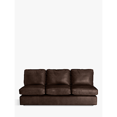 John Lewis Oliver Leather Armless Grand 4 Seater Sofa, Dark Leg