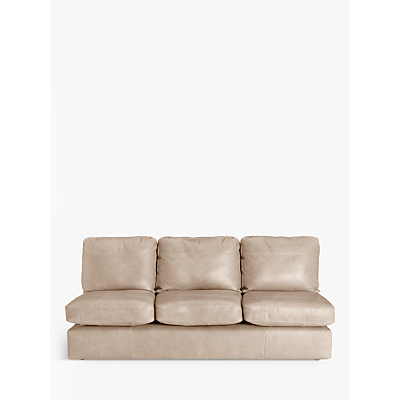 John Lewis & Partners Oliver Leather Armless Grand 4 Seater Sofa, Dark Leg