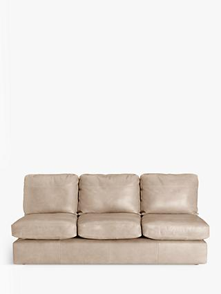 House by John Lewis Oliver Leather Armless Grand 4 Seater Sofa, Dark Leg