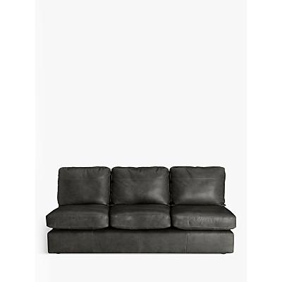 John Lewis Oliver Leather Armless Grand 4 Seater Sofa, Dark Leg