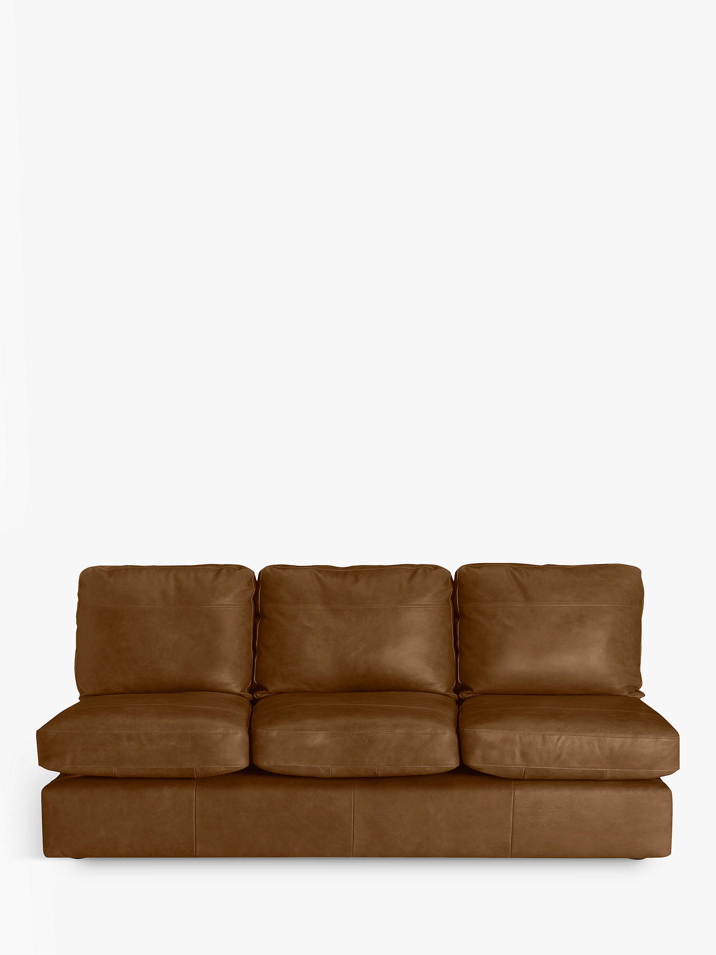 Buy House by John Lewis Oliver Leather Armless Grand 4 Seater Sofa, Dark Leg, Demetra Light Tan Online at johnlewis.com