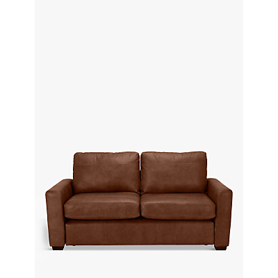 John Lewis Oliver Leather Medium 2 Seater Sofa, Dark Leg