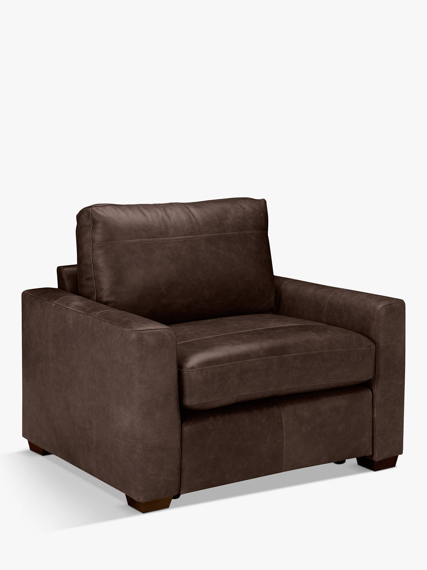 Buy House by John Lewis Oliver Leather Armchair, Dark Leg, Contempo Dark Chocolate Online at johnlewis.com