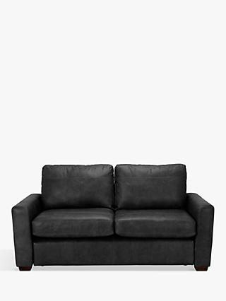 House by John Lewis Oliver Leather Medium 2 Seater Sofa, Dark Leg