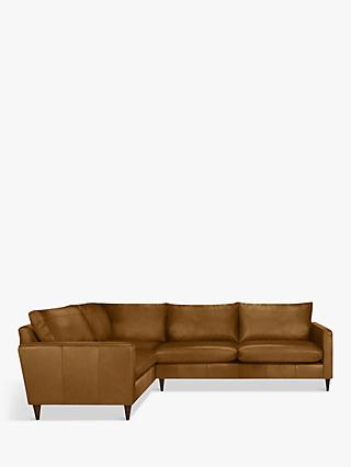 John Lewis & Partners Bailey Leather LHF Corner End Sofa, Dark Leg